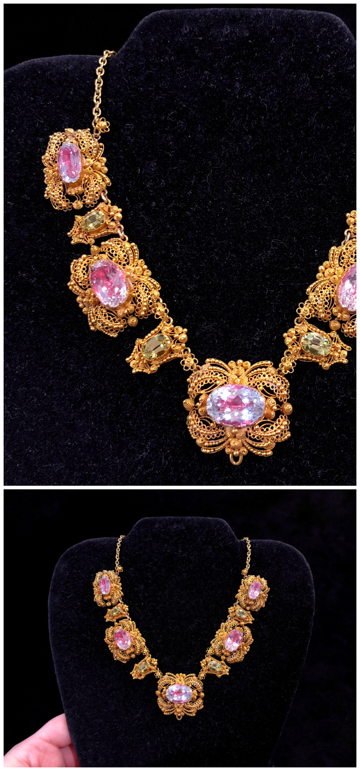 A stunning antique cannetille gold necklace with pretty pink topaz. From Roy Rover Antiques.