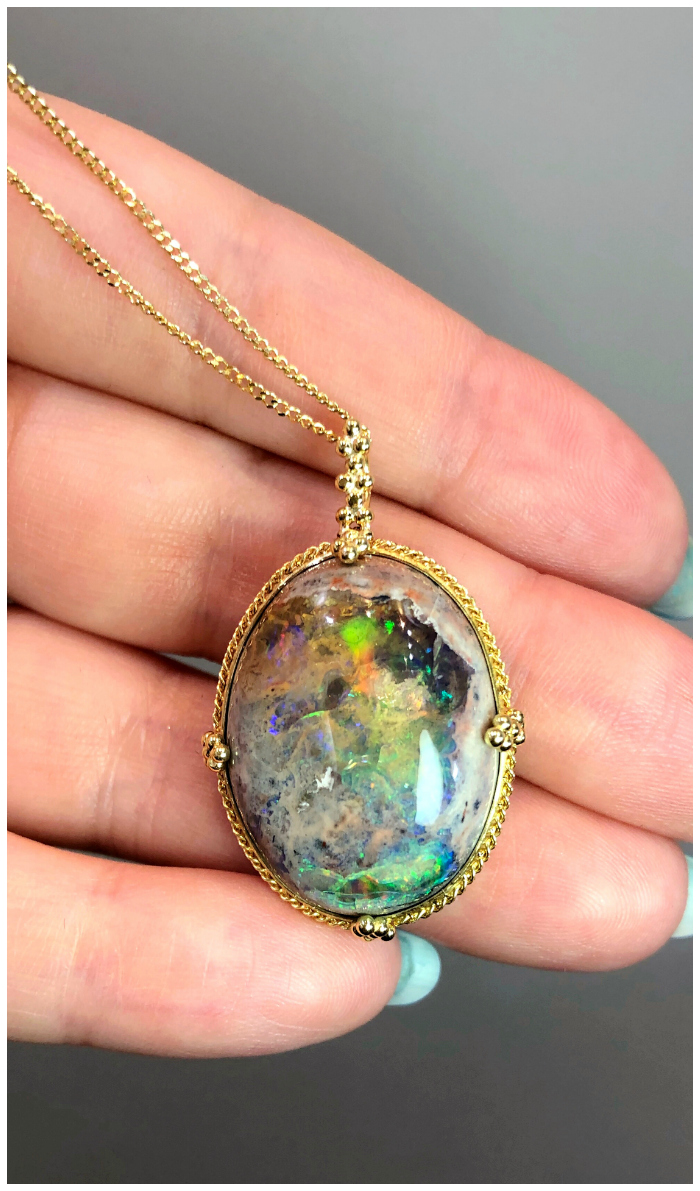 A stunningly beautiful Mexican opal necklace by Amali Jewelry.