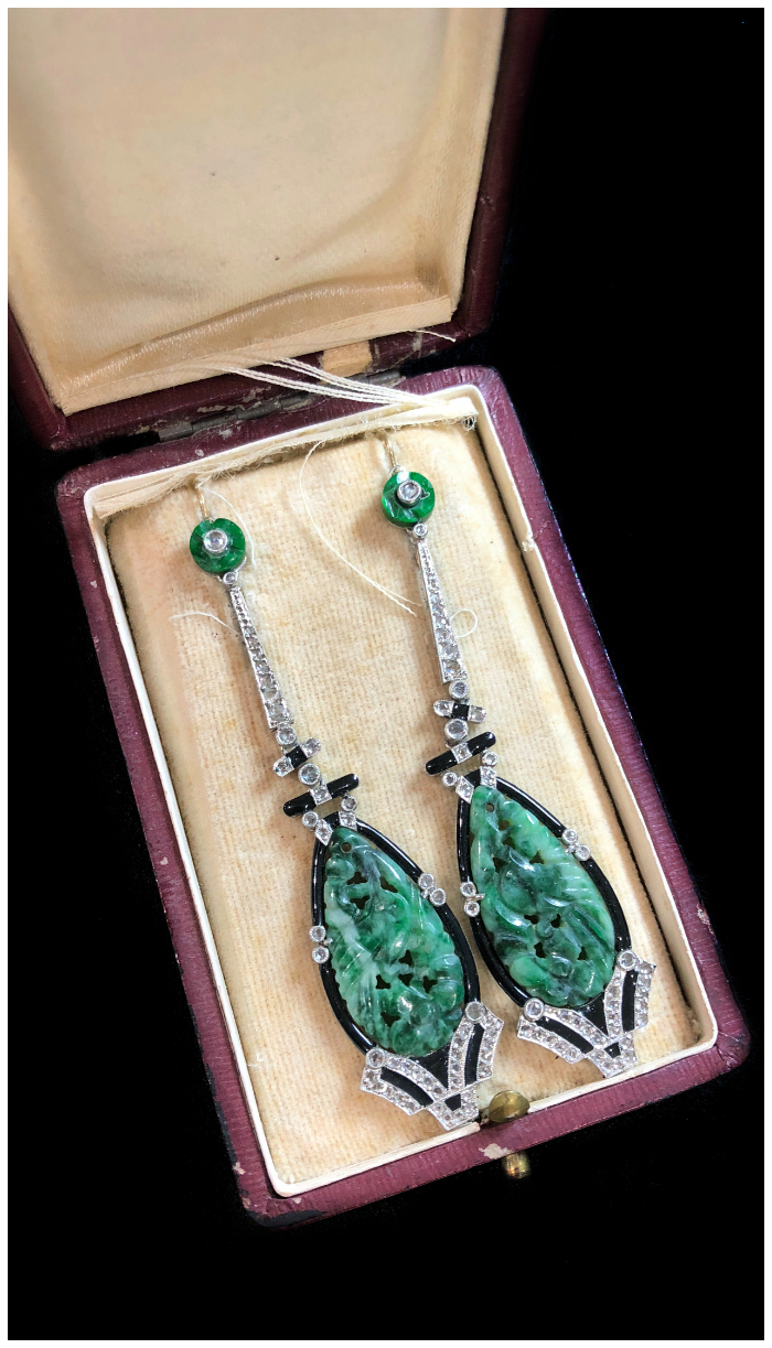 An incredible pair of Art Deco era jade earrings with diamonds and onyx. From Pam Benson at the Miami Antique Show.