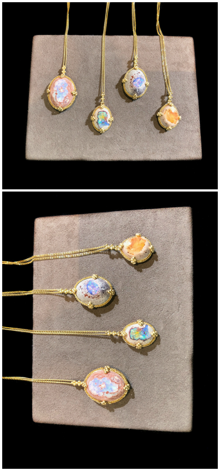 Four very different, equally beautiful Mexican opal necklaces by Amali Jewelry.