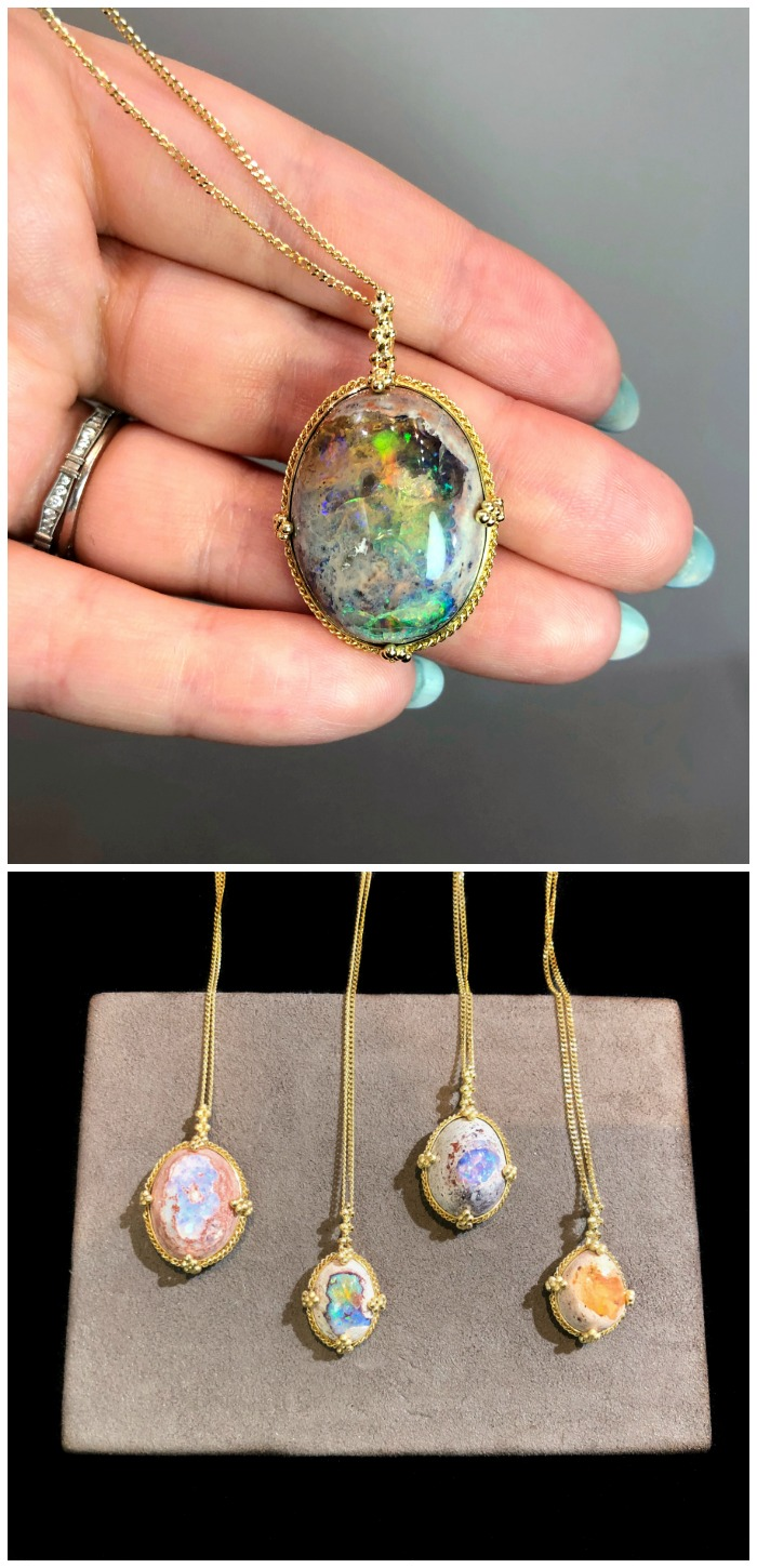 Stunningly beautiful Mexican opal necklaces by Amali Jewelry.