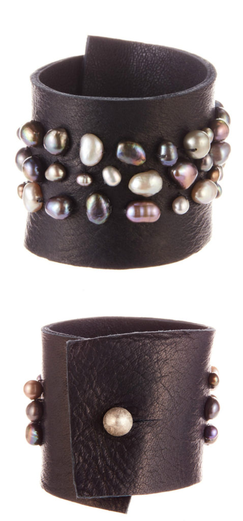 A fantastic leather and pearl cuff bracelet by Andrea Gutierrez.