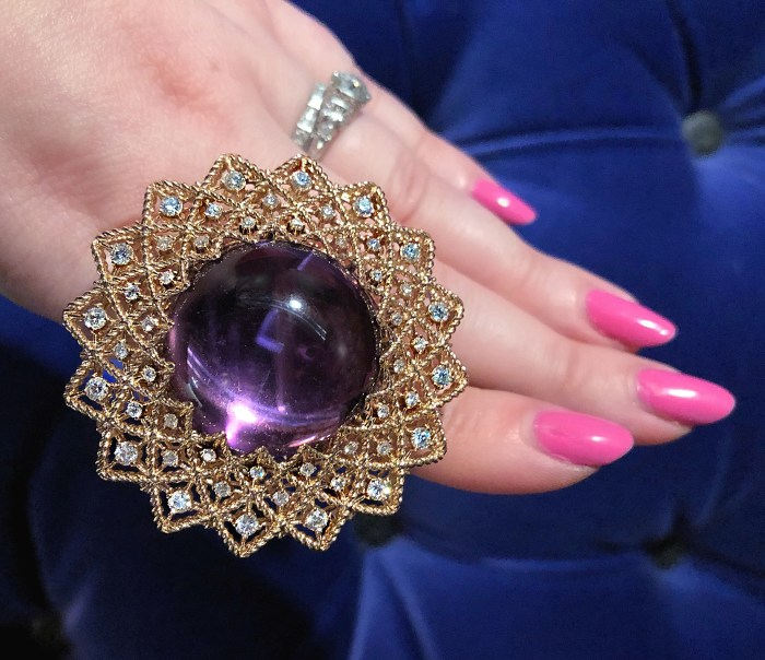A glorious amethyst cabochon ring from Roberto Coin's new collection!! Surrounded by diamonds in gold.