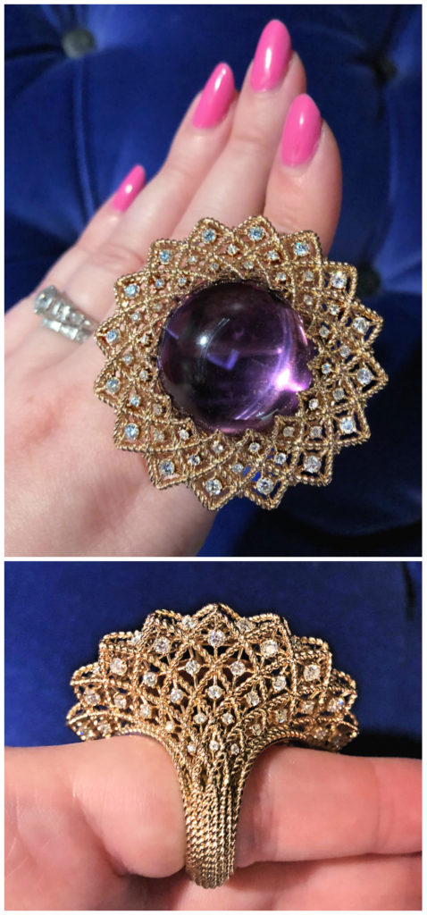A glorious amethyst cabochon ring from Roberto Coin's new collection!! With diamonds in gold. I love the detail on the back, too!