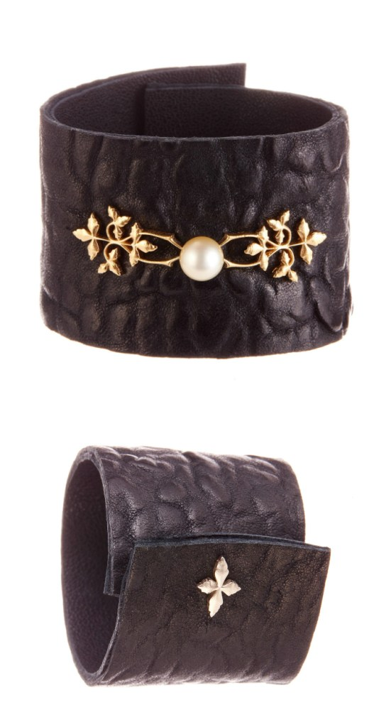 A great leather, pearl, and gold cuff bracelet by Andrea Gutierrez.