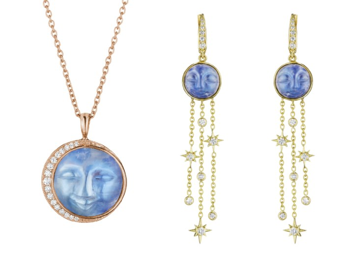 A rose gold necklace and yellow gold earrings from Penny Preville's Man in the Moon collection! Carved moonstone with diamonds.