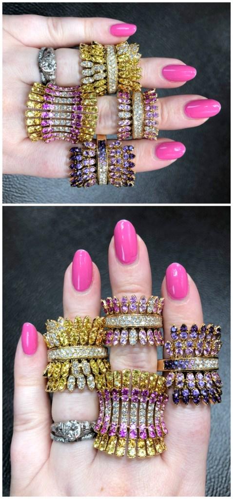 Beautiful gemstone rings by Italian jewelry brand Ferrari Firenze! Pink and yellow sapphires.