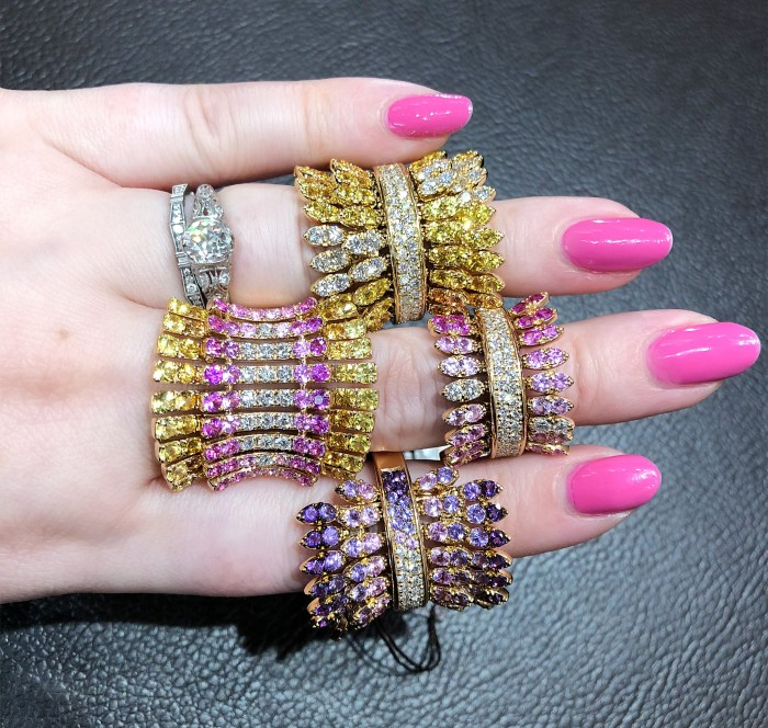 Beautiful gemstone rings by Italian jewelry brand Ferrari Firenze! Pink and yellow sapphires.