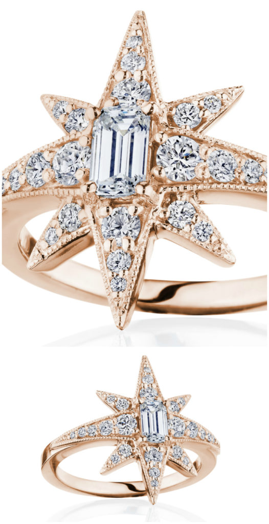 Diamond star ring by Penny Preville, in rose gold. I love this starburst design!