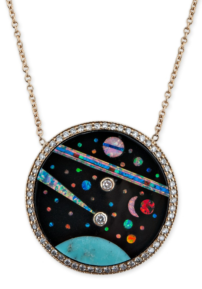 Gemstone inlay pendant from Jacquie Aiche's Galaxy collection! Turquoise, opal, diamonds, and more!