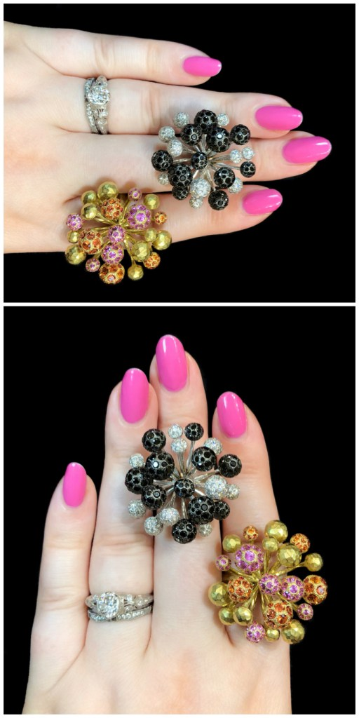 I love the design of these Vendorfa rings!! They look like fireworks. Gold, diamonds, and bright gemstones.
