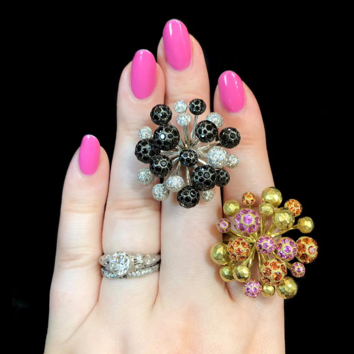 I love the design of these Vendorafa rings!! They look like fireworks. Gold, diamonds, and bright gemstones.