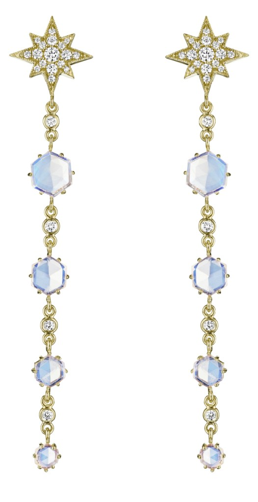 I love these earrings! Yellow gold stars and faceted moonstone, by Peny Preville. Beautiful!