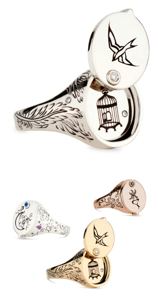 I love this signet ring by DRU Jewelry! It opens to reveal a secret symbol. From the Jewelry Showcase.