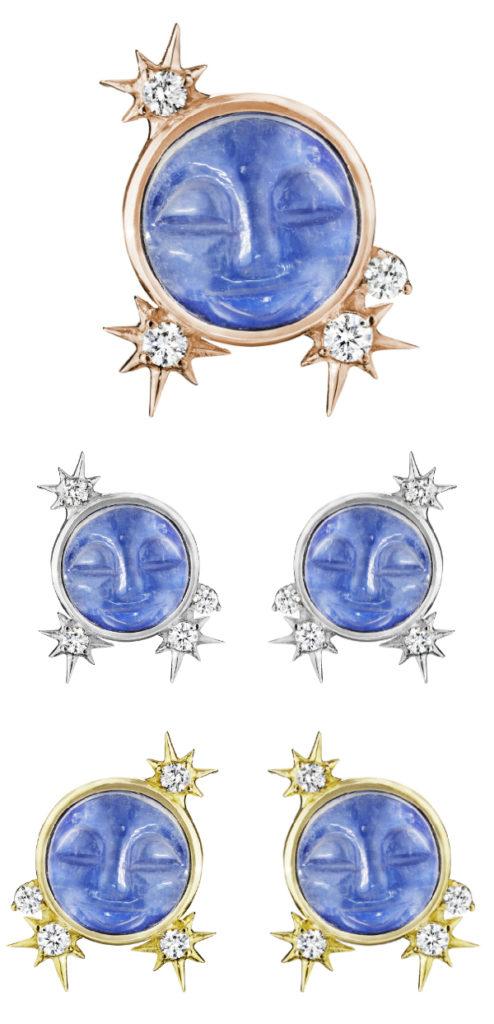 Man in the moon stud earrings by Penny Preville! In yellow or white gold with carved moonstone and diamonds.