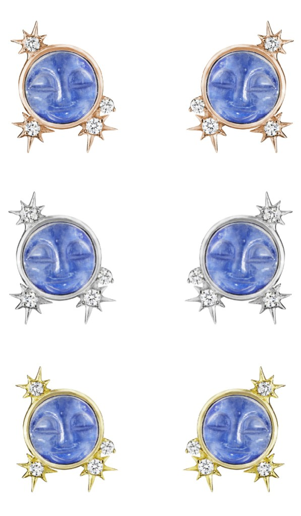 Man in the moon stud earrings by Penny Preville! In yellow or white gold with carved moonstone with diamonds.