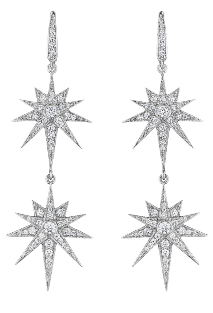 Penny Preville white gold starburst earrings. So glam!