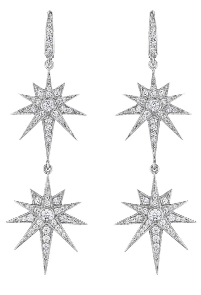 Penny Preville white gold starburst earrings. So glam!