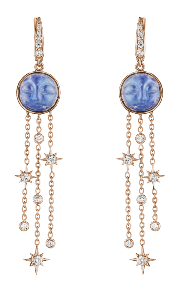 The rose gold man in the moon earrings by Penny Preville! With carved moonstone and diamonds.
