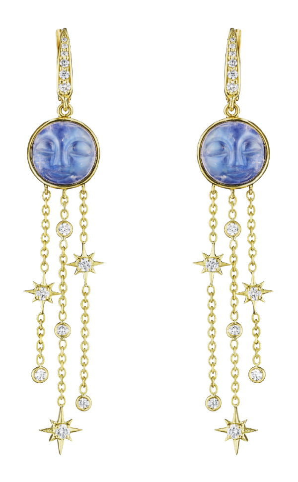 The yellow gold man in the moon earrings by Penny Preville! With carved moonstone and diamonds.