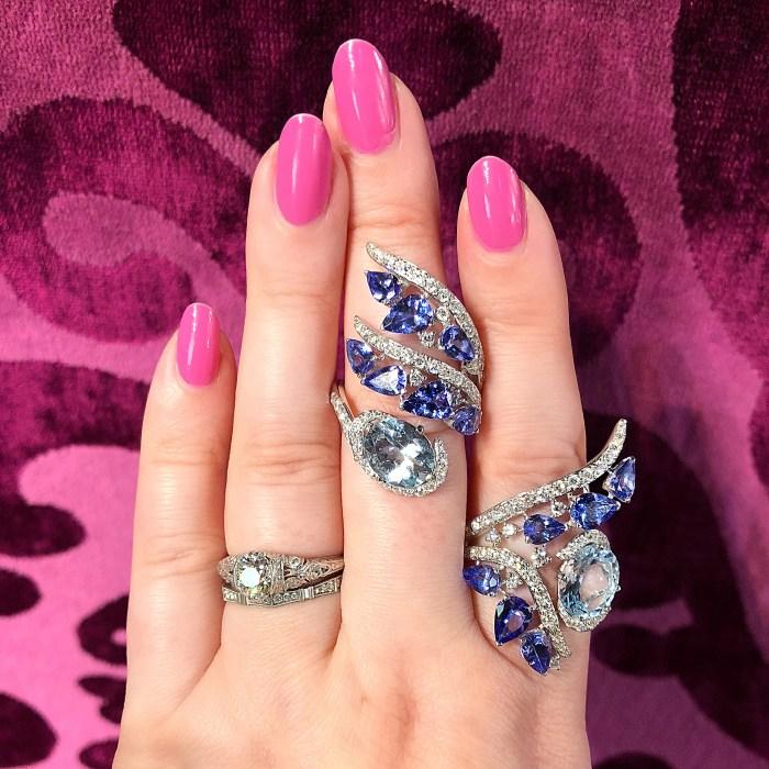 Two stunning aquamarine and tanzanite rings by Italian jewelry brand Casato.