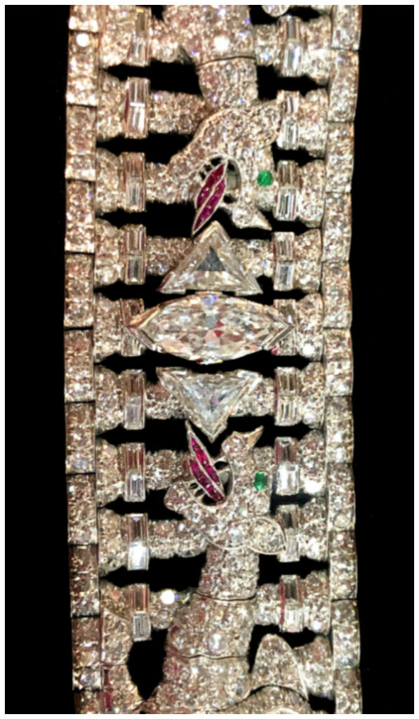 Up close and personal with a stunning Art Deco bracelet from Pat Saling. Diamond dragons with ruby tongues and emerald eyes!! Design by Gustav Manz, circa 1935.