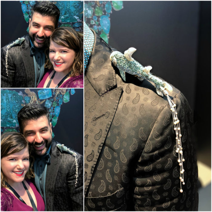 With jewelry designer Alessio Boschi and his incredible shark shoulder brooch at VicenzaOro.