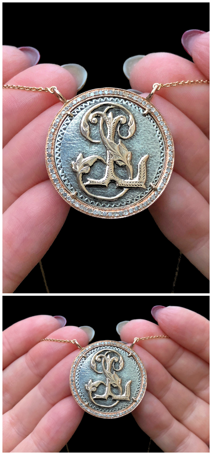 An extraordinary Victorian era love pendant token by Heavenly Vices! This one has initials in gold. .