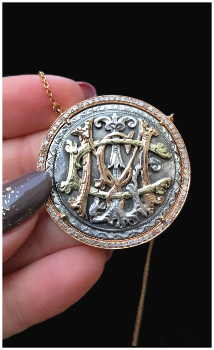 An extraordinary Victorian era love pendant token by Heavenly Vices! This one has intricate initials in gold.