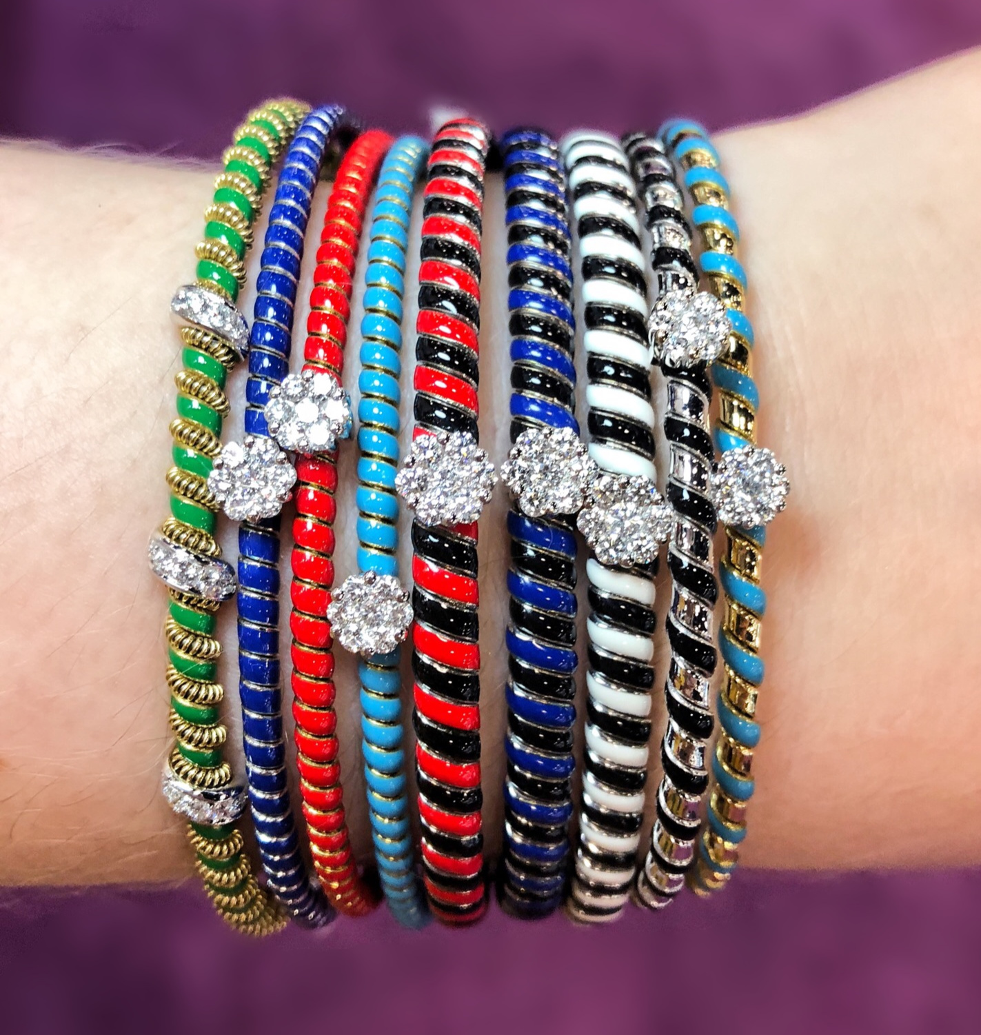 I'm obsessed with the bright colors of these enamel and diamond bracelets by Oro Trend!