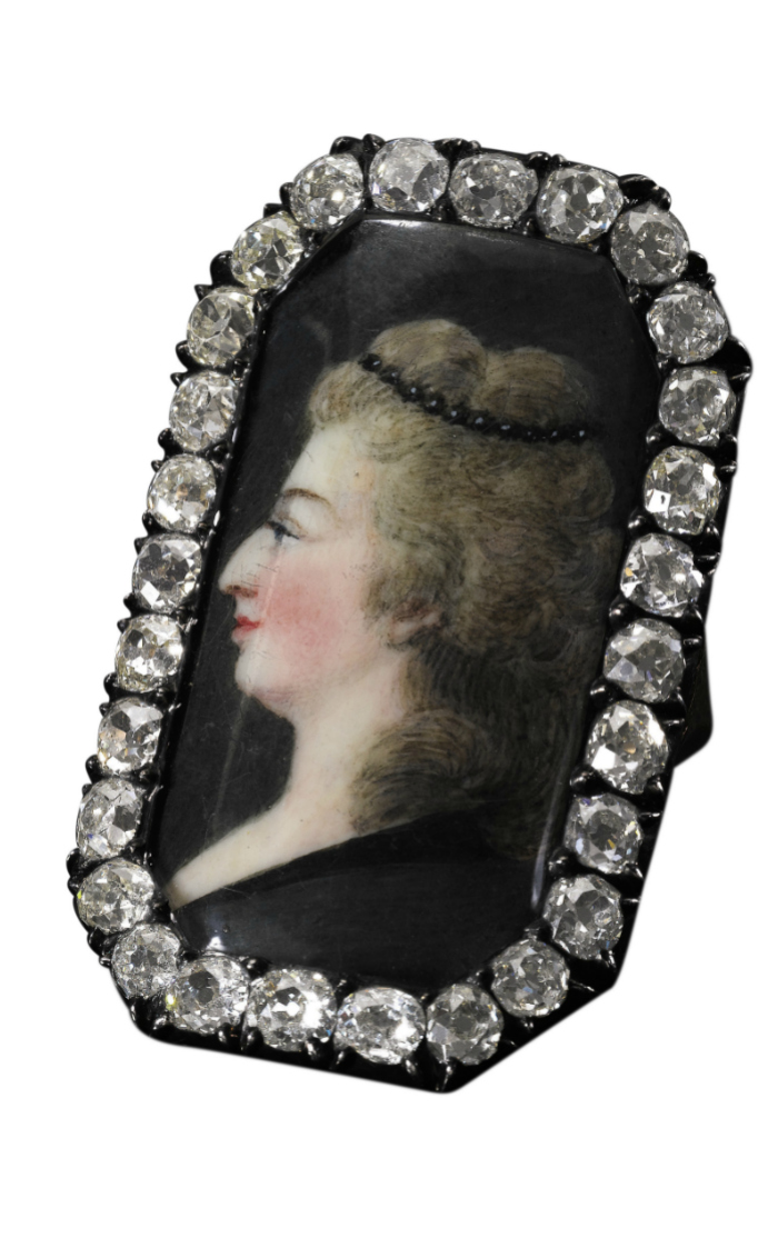 Late 18th century portrait ring with diamonds, from Marie Antoinette's family. The portrait is of Marie Antoinette.