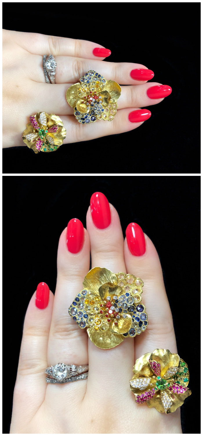 Lovely flower rings by Vendorafa! Yellow gold with gemstones and diamonds. .