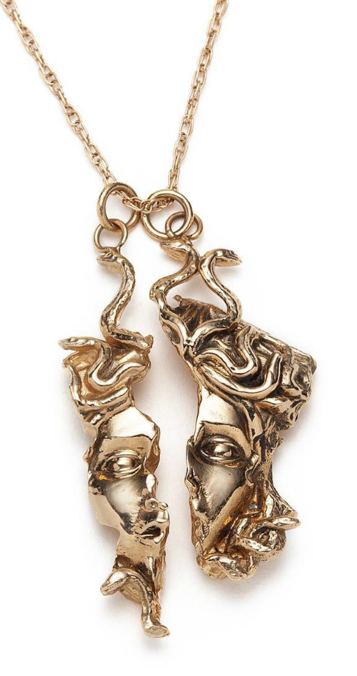 Medusa relic pendants by Sofia Zakia. Handmade in 14K yellow gold and so stunning!