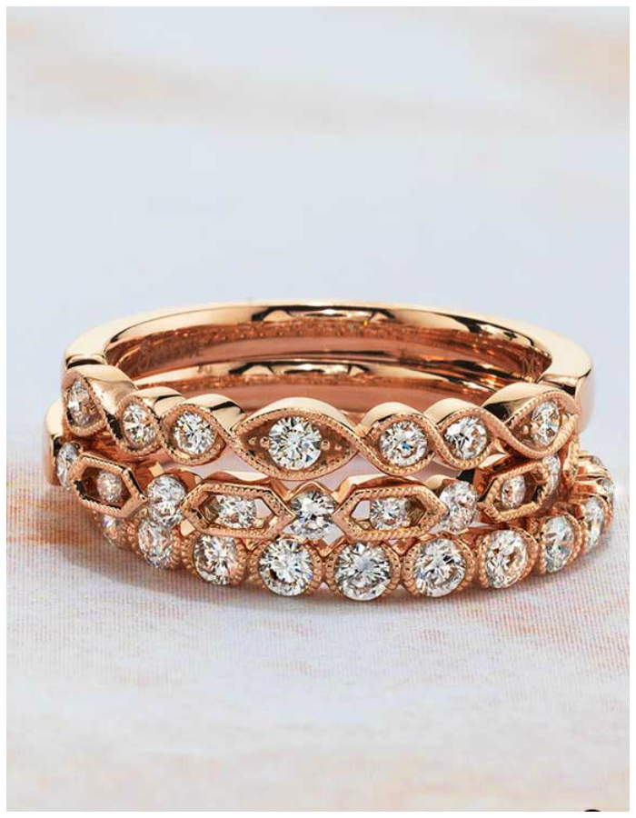 Rose gold and diamond rings by Sylvie Collection! Perfect as wedding bands or stacking rings. Enter to win one for free!