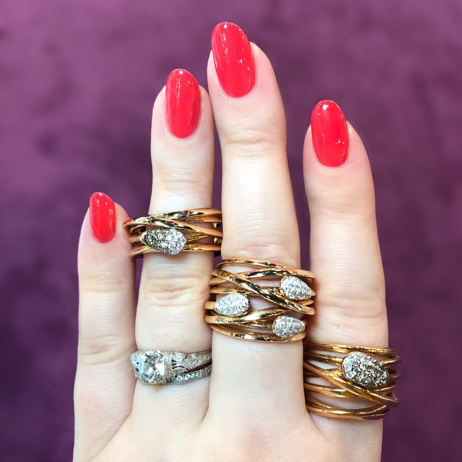 Three beautiful gold and diamond rings by K di Kuore! Spotted at the Italian Pavilion at JIS Miami.