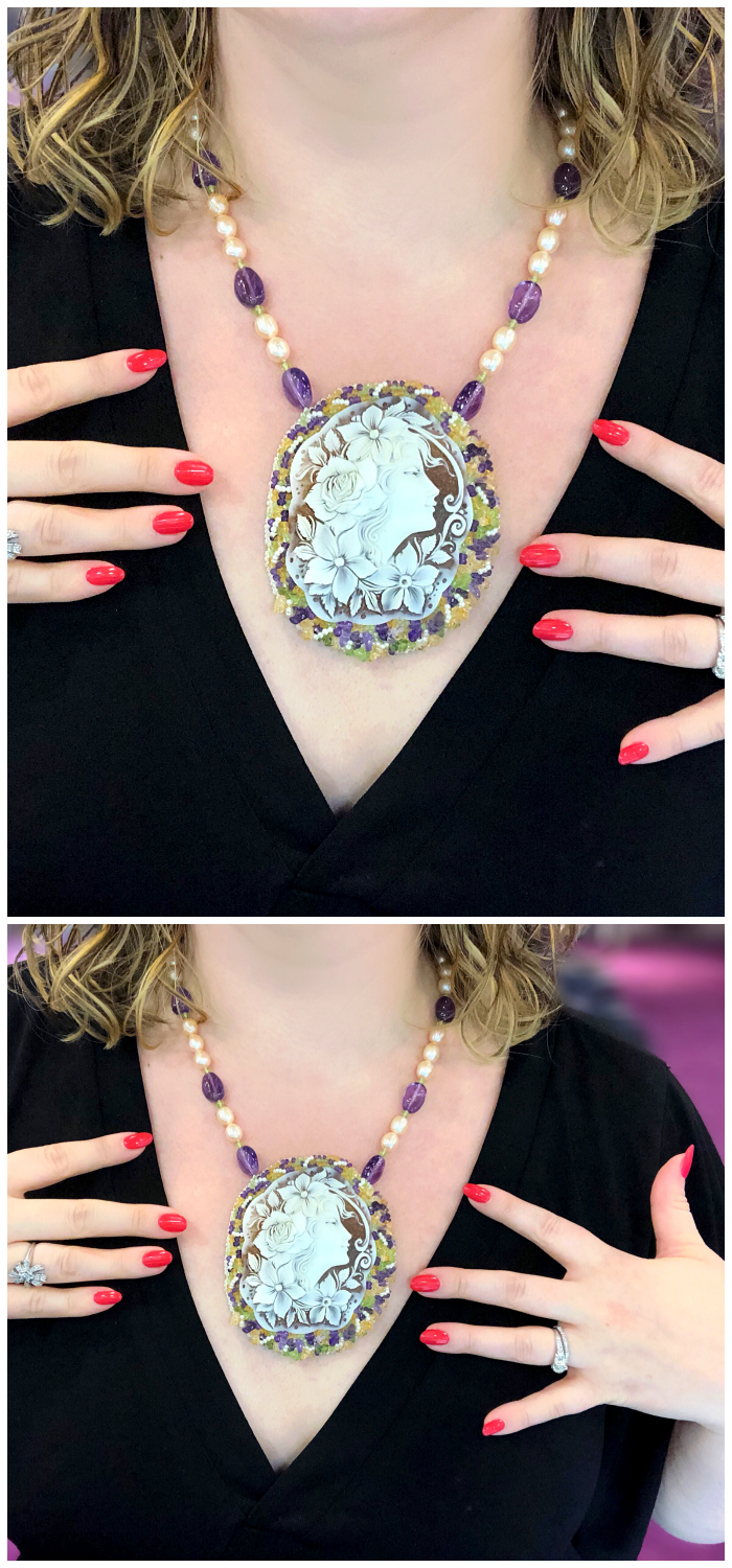 Trying on one of Carada's beautiful cameo creations! Custom hand beadwork adorning a vintage cameo.