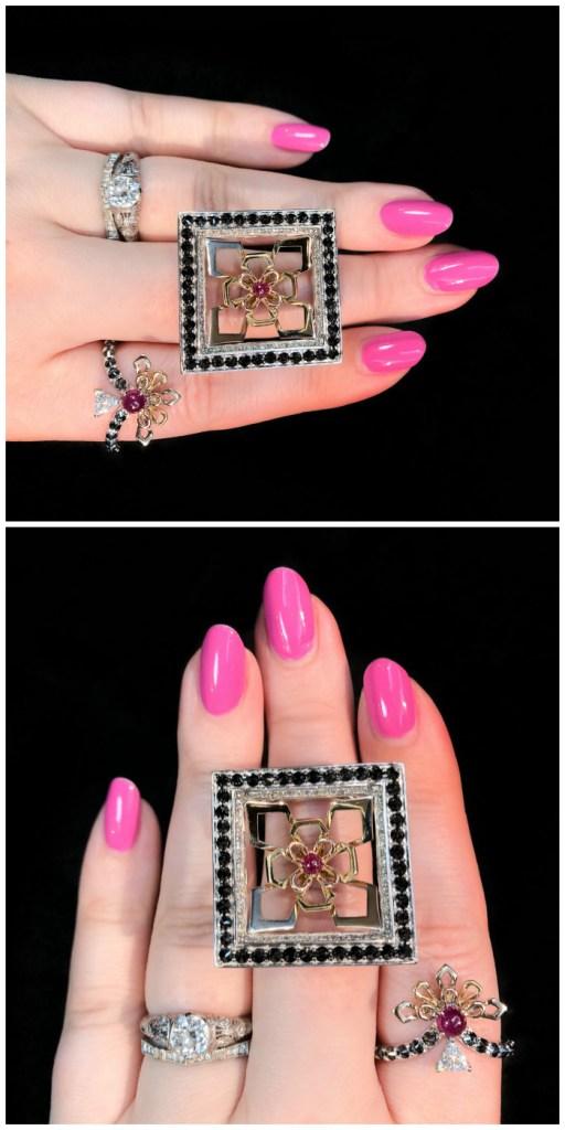 Two beautiful rings by jewelry designer Bia Tambelli! Rubies, diamonds, gold, and black diamonds.
