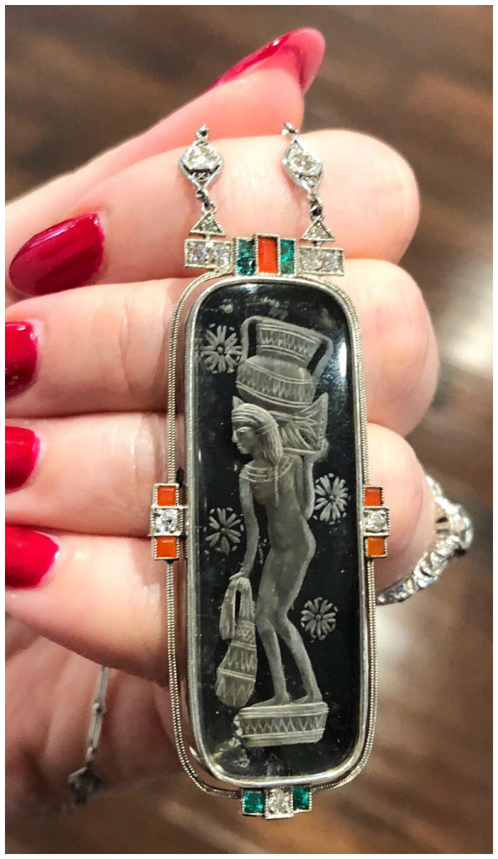 A magnificent Art Deco era Egyptian revival necklace from Wilson's Estate Jewelry.