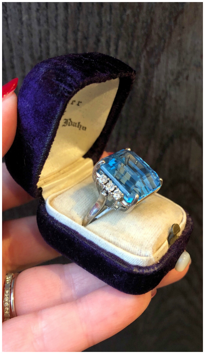 A stunning vintage aquamarine and diamond ring from Wilson's Estate Jewelry.
