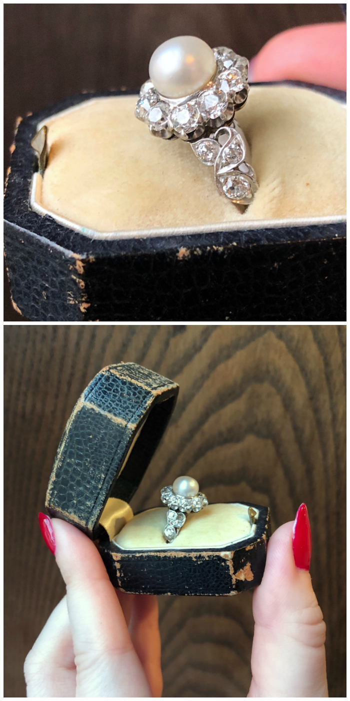 An utterly stunning antique pearl and diamond ring from Wilson's Estate Jewelry.
