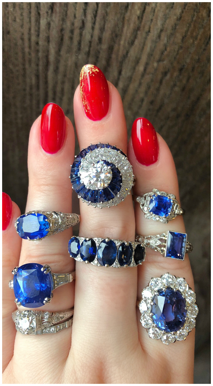 Exceptional blue sapphire rings from Wilson's Estate Jewelry!! Some Art Deco, one by Oscar Heyman, all exquisite.