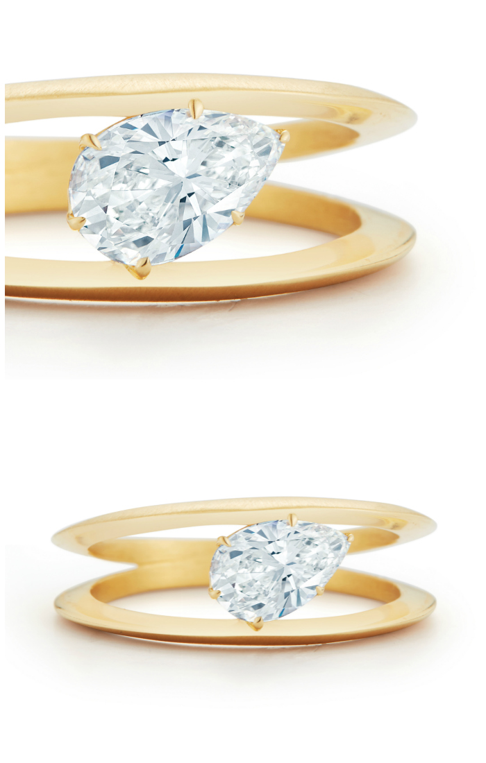 I adore this pear diamond engagement ring design from Jade Trau!