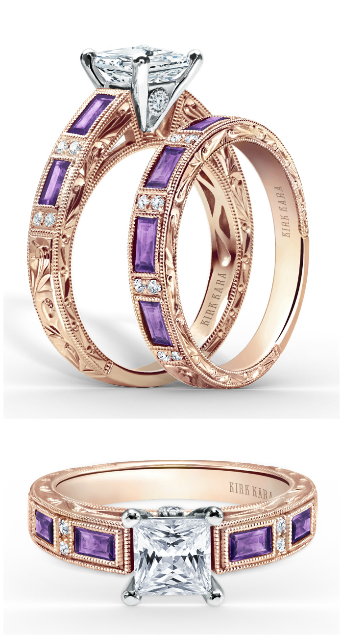 I love this rose gold, amethyst, and diamond wedding set by Kirk Kara! That engagement ring is stunning.