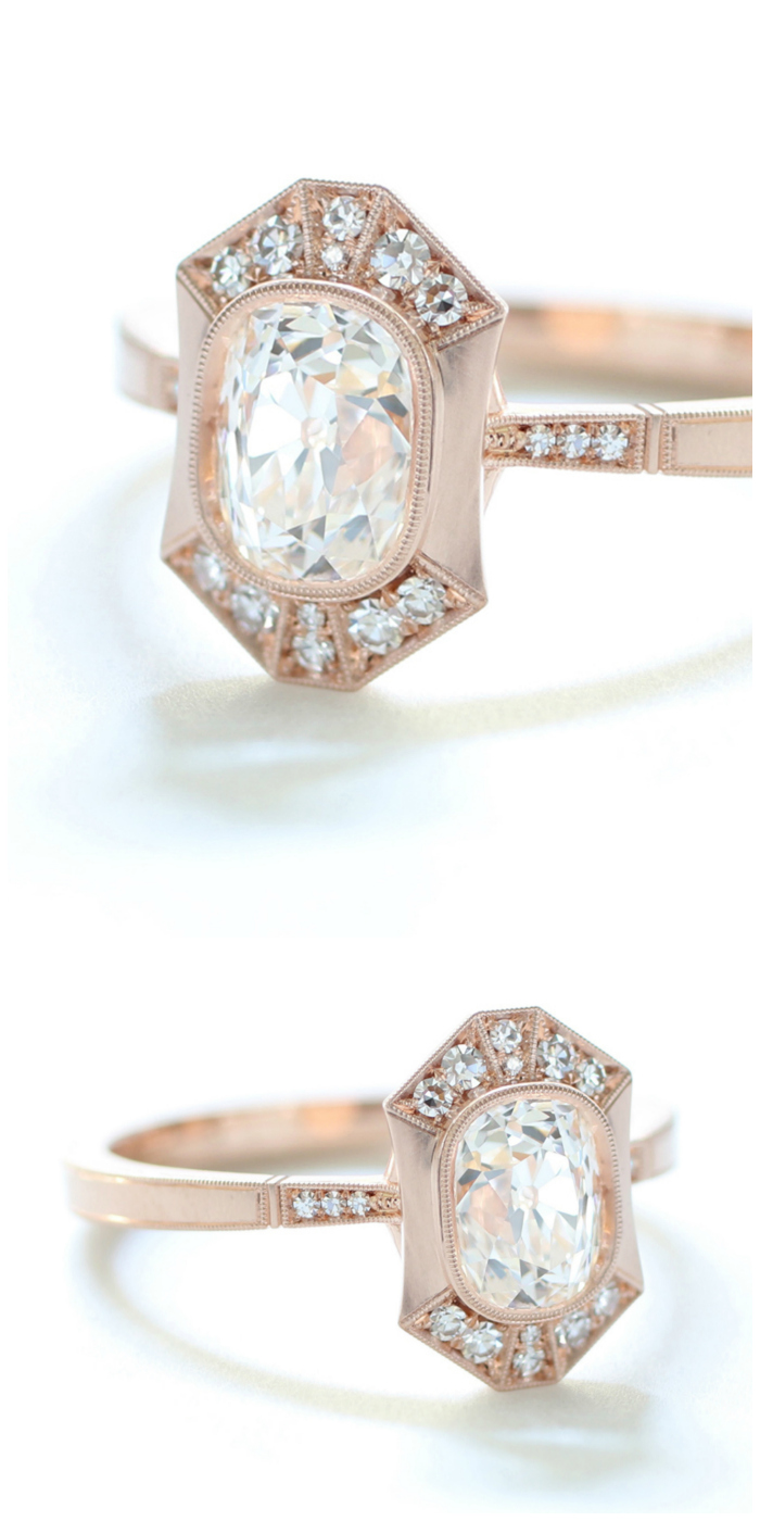 I love this rose gold engagement ring by Erika Winters!