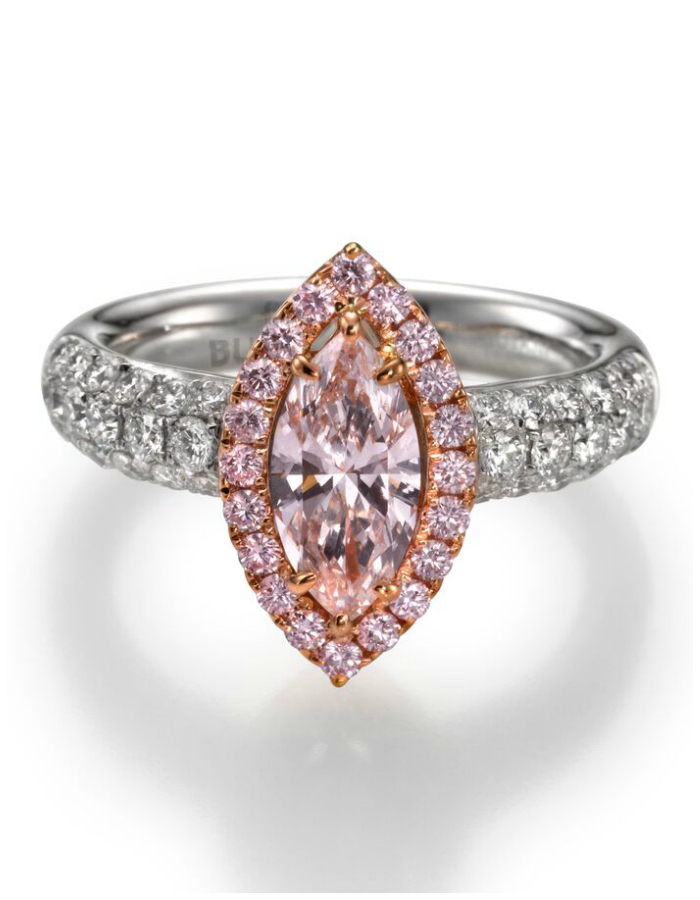 The dreamiest, most glamorous pink diamond ring from Butani! I love that marquise center stone.