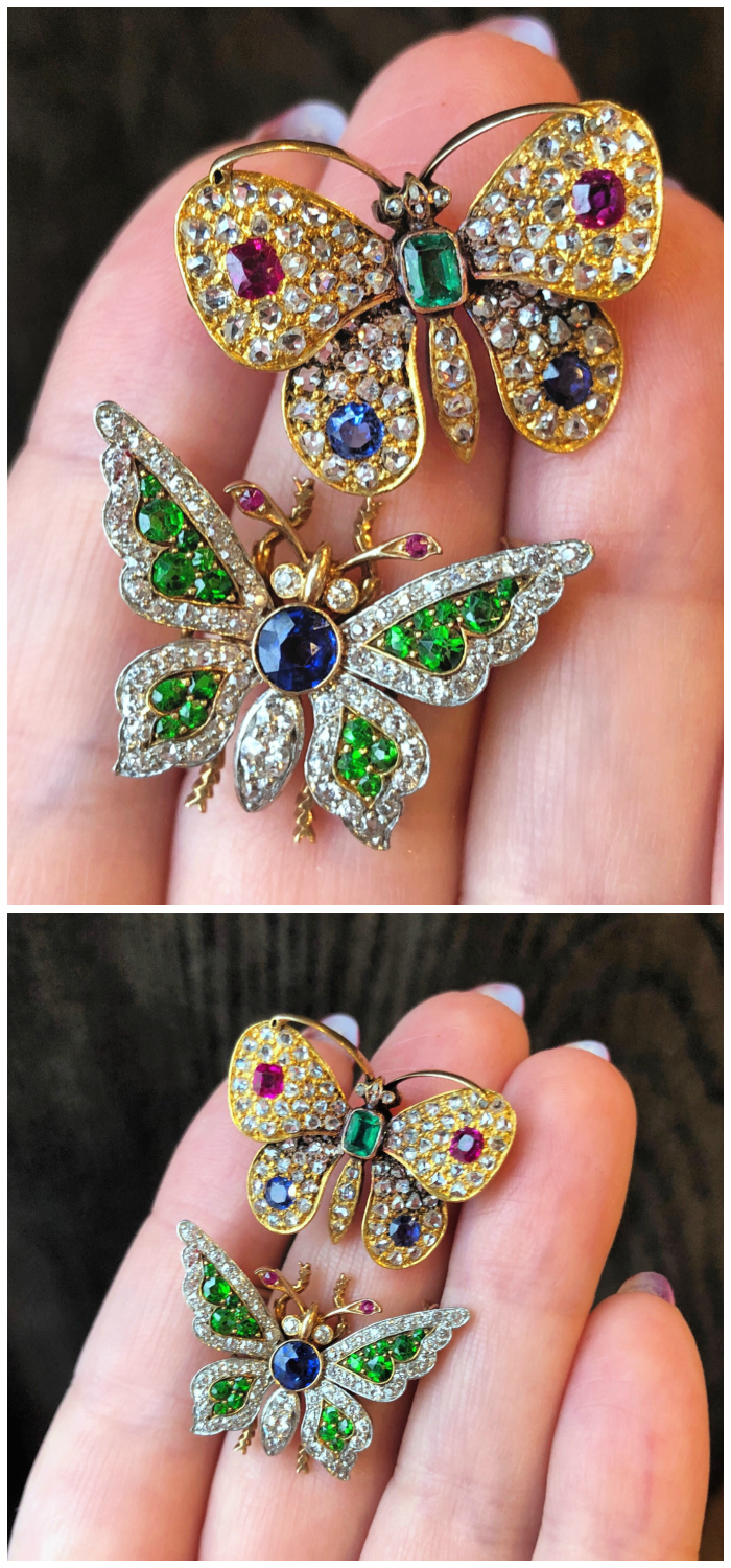 Two beautiful antique butterfly brooches with gemstones and diamonds. From Wilson's Estate Jewelry. ..