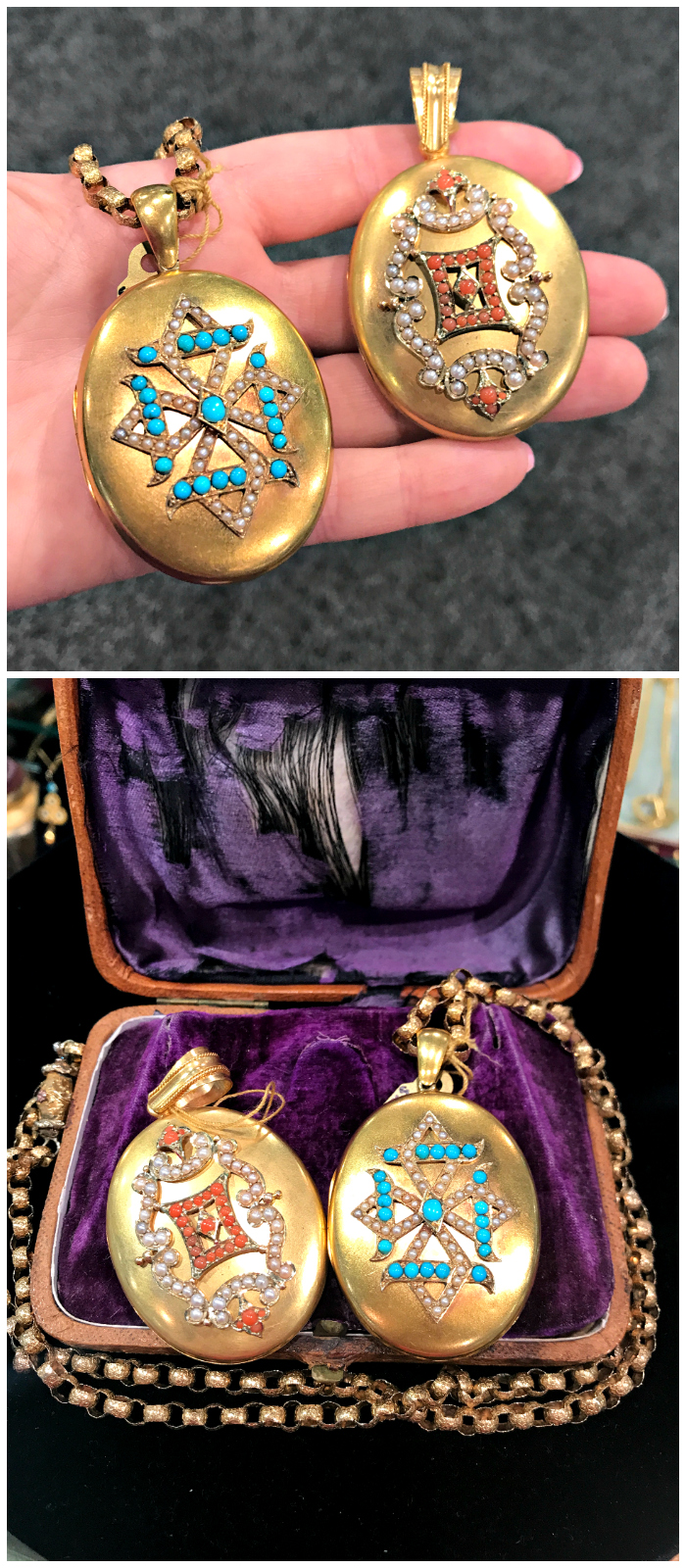Two fantastic Victorian era lockets from Lenore Dailey. One with turquoise and pearls, the other with coral and pearls.