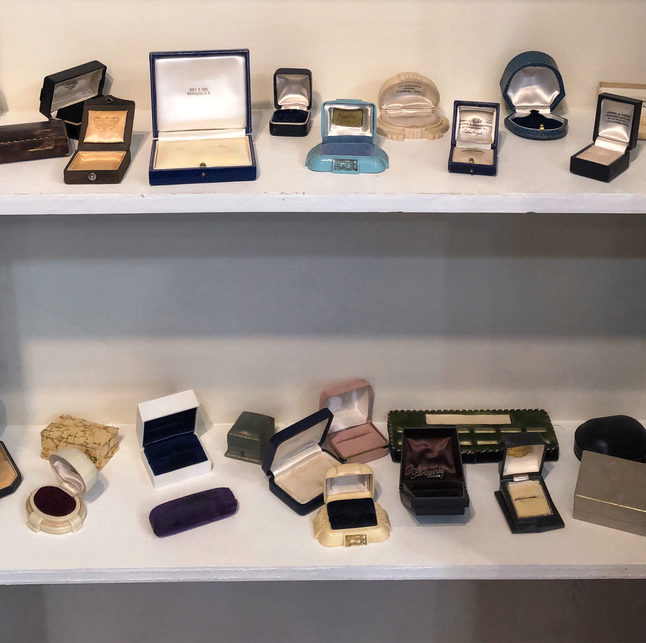 Wilson's Estate Jewelry in Philadelphia, PA, has a whole CLOSET filled with antique and vintage jewelry boxes.