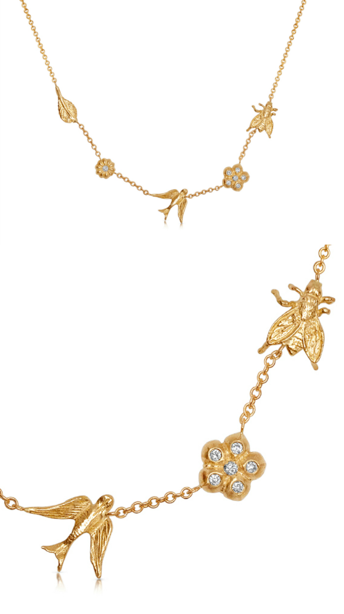 The Garden necklace by Lulu and Shay, in yellow gold with diamonds. So pretty! Perfectly romantic.