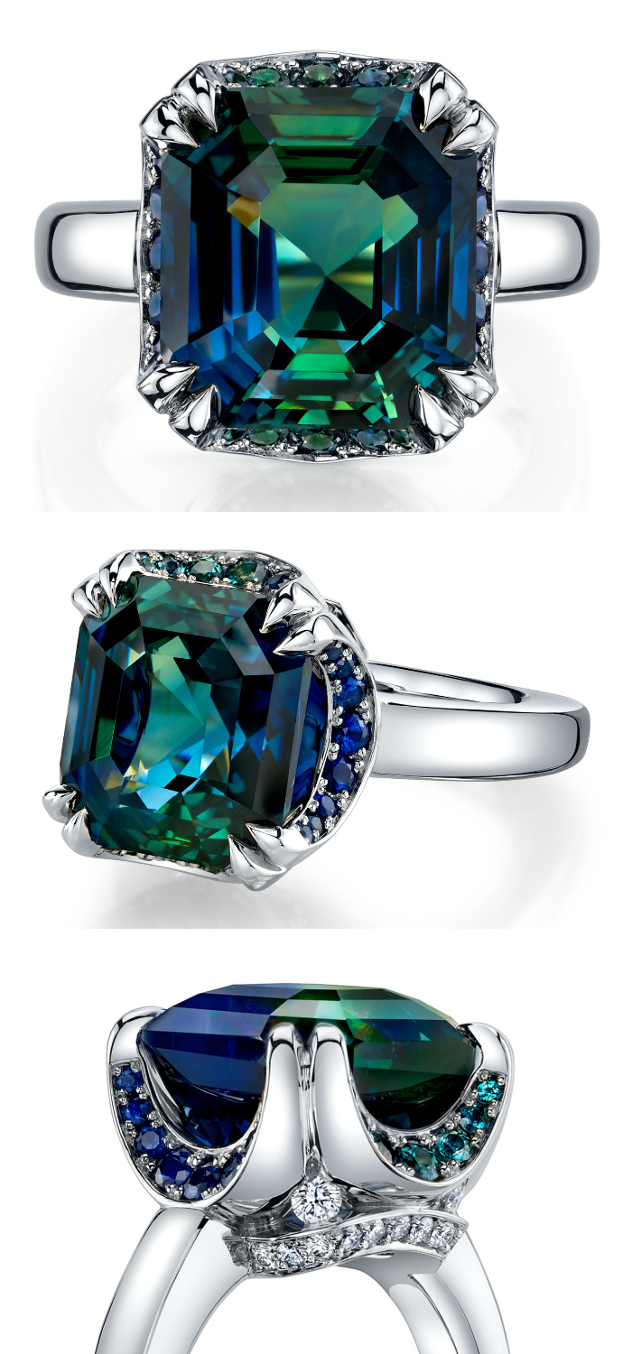 A beautiful ring with a 12.69 carat emerald cut bi-colored sapphire, diamonds, and alexandrites. By Omi Prive. ..